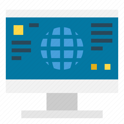 Monitor, screen, communications, computer, internet, technology icon