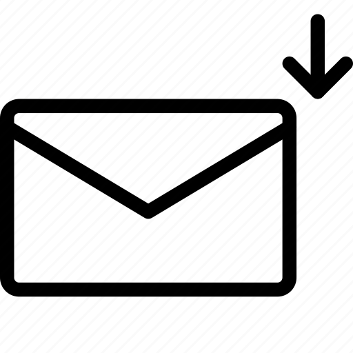 arrow, down, letter, mail, message icon