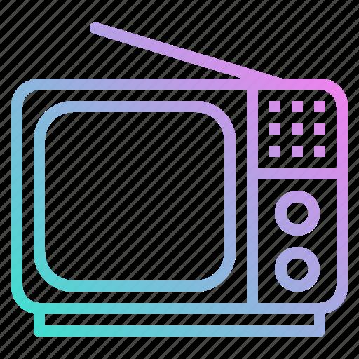 antenna, electronics, screen, television, tv, vintage icon