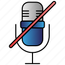 mic, microphone, mute, off icon