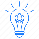 bulb, education, gear, idea icon
