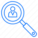 avatar, glass, magnifying, search, searching icon