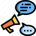 announcement, bubble, communication, information, message, speech icon