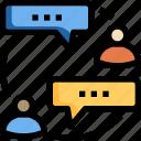 bubble, connection, exchange, information, people, speech, talk