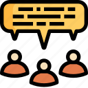 chat, conference, group, meeting, people, speech, talk