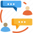 bubble, connection, people, speech, talk, discuss, social