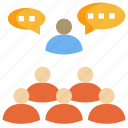 chat, comment, communication, conference, group, meeting, team icon