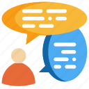 chat, communication, conversation, message, people, social, talk icon