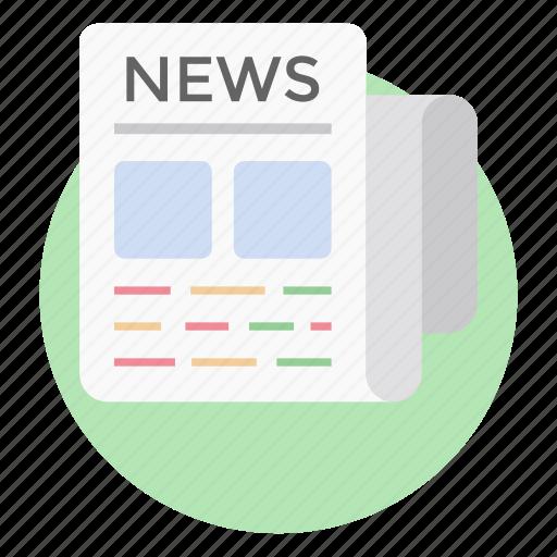 daily news, daily newspaper, headlines, news, news article, newspaper, print media icon