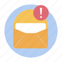 email alert, email error, email warning, error exclamation, mail error icon
