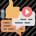 media, social, like, message, send, thumb up, video