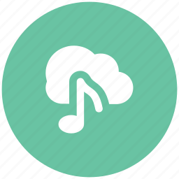 cloud computing, cloud melodies, cloud music, cloud network, musical note, networking, wireless connection icon