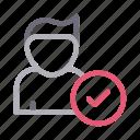 account, avatar, check, profile, user