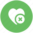 cancel, cross sign, dislike, heart, heart sign, remove like, unfavorite icon