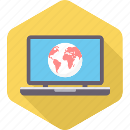 country, earth, global, globe, laptop, location, map icon