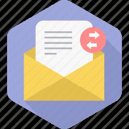 forward, forwarding, inbox, letter, mail, receive, send icon