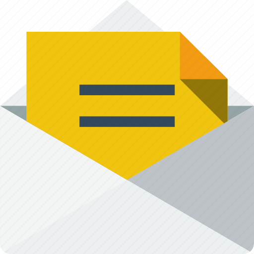 communication, e-mail, envelope, inbox, letter, mail, multimedia, opened, paper, yellow icon