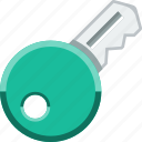 cartoon, green, key, lock, padlock, security, unlock icon