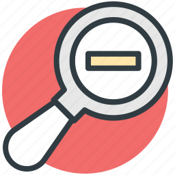 magnifier, magnifying lense, search glass, searching tool, zoom out icon