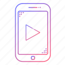 arrow, cellphone, communication, devices, phone, play, technology icon