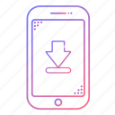 arrow, cellphone, communication, devices, download, phone, technology icon