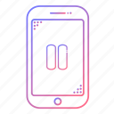 cellphone, communication, devices, music, pause, phone, technology icon