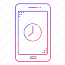 cellphone, clock, communication, devices, phone, technology, time icon