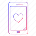 cellphone, communication, devices, heart, love, phone, technology icon