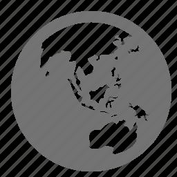 asia, australia, earth, globe, map, planet, world icon