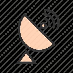 communication, dish, equipment, radar, rays, satellite, waves icon