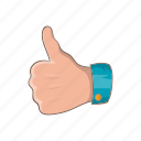 cartoon, finger, good, hand, like, success, up icon