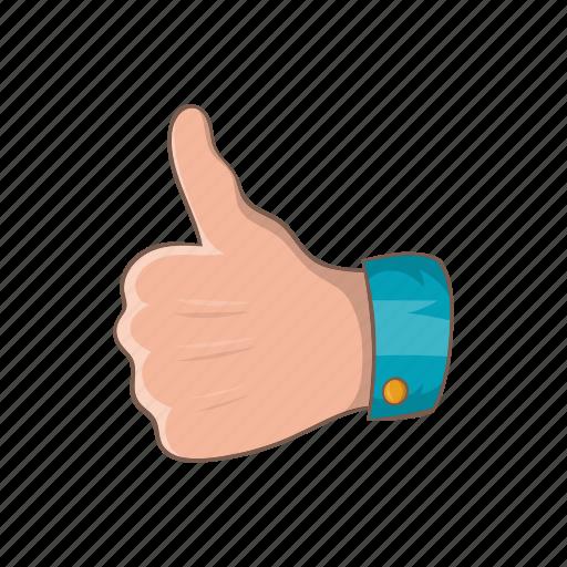 cartoon, finger, good, hand, like, success, up icon