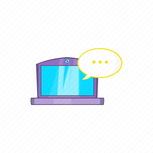 cartoon, chat, communication, laptop, online, speech, web icon