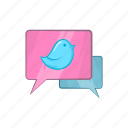 bird, bluebird, bubble, cartoon, communication, message, speech icon