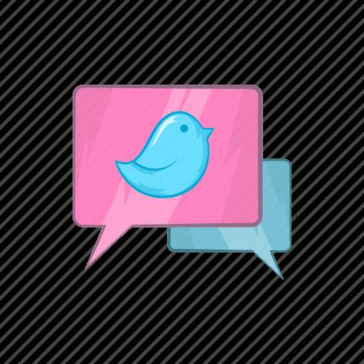 bird, bluebird, bubble, cartoon, communication, message, speech icon