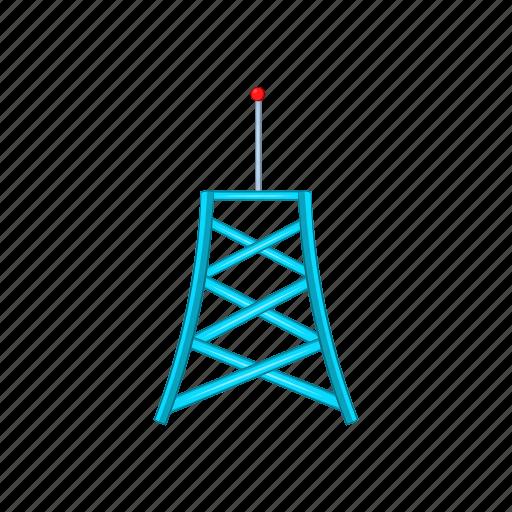 antenna, cartoon, communication, network, tower, wave, wireless icon