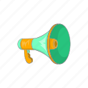 announcement, cartoon, communication, loudspeaker, megaphone, message, speaker icon