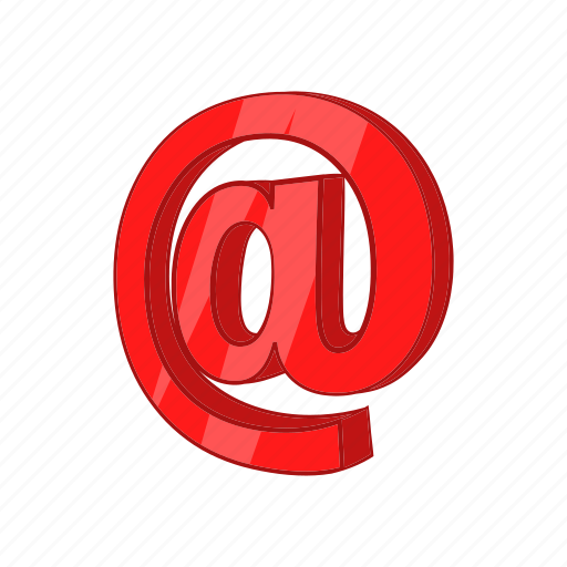 at, cartoon, communication, internet, mail, message, sign icon
