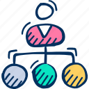 connection, hierarchy, management, team, team icon, teamwork icon