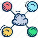 cloud, cloud computing, devices, network, share, sharing icon, sky share