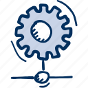 cogwheel, control, gear, network, processing icon