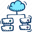 cloud, computers, network, server icon