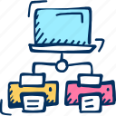 connection, document, network, print, printer, share icon