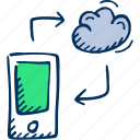 smart phone, phone, share icon, cloud, mobile, connection icon