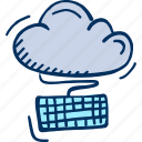 cloud, computing, hosting, internet, keyboard icon
