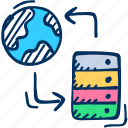 global, store icon, database, data, server