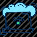 backup, cloud, computing, forecast, laptop icon, storage, weather
