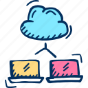 backup, cloud, internet, laptop, networking icon, share icon