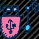 device, router, stream, usb icon, wireless icon