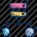 database, hosting, internet icon, network, server, share icon